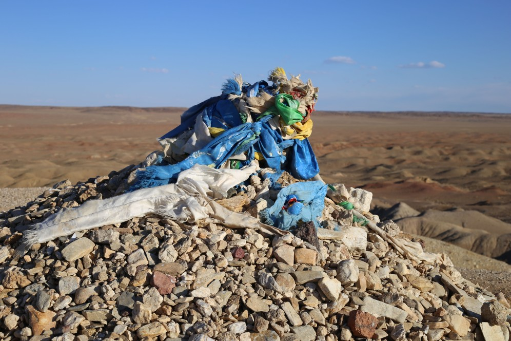 """The Gobi is sprinkled with """"ovoos"""". These are sacred stone heap used as altar or shrine for religious purposes"""