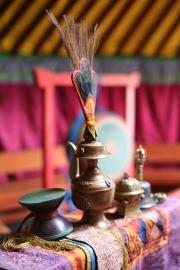 Altar with juniper filled vases